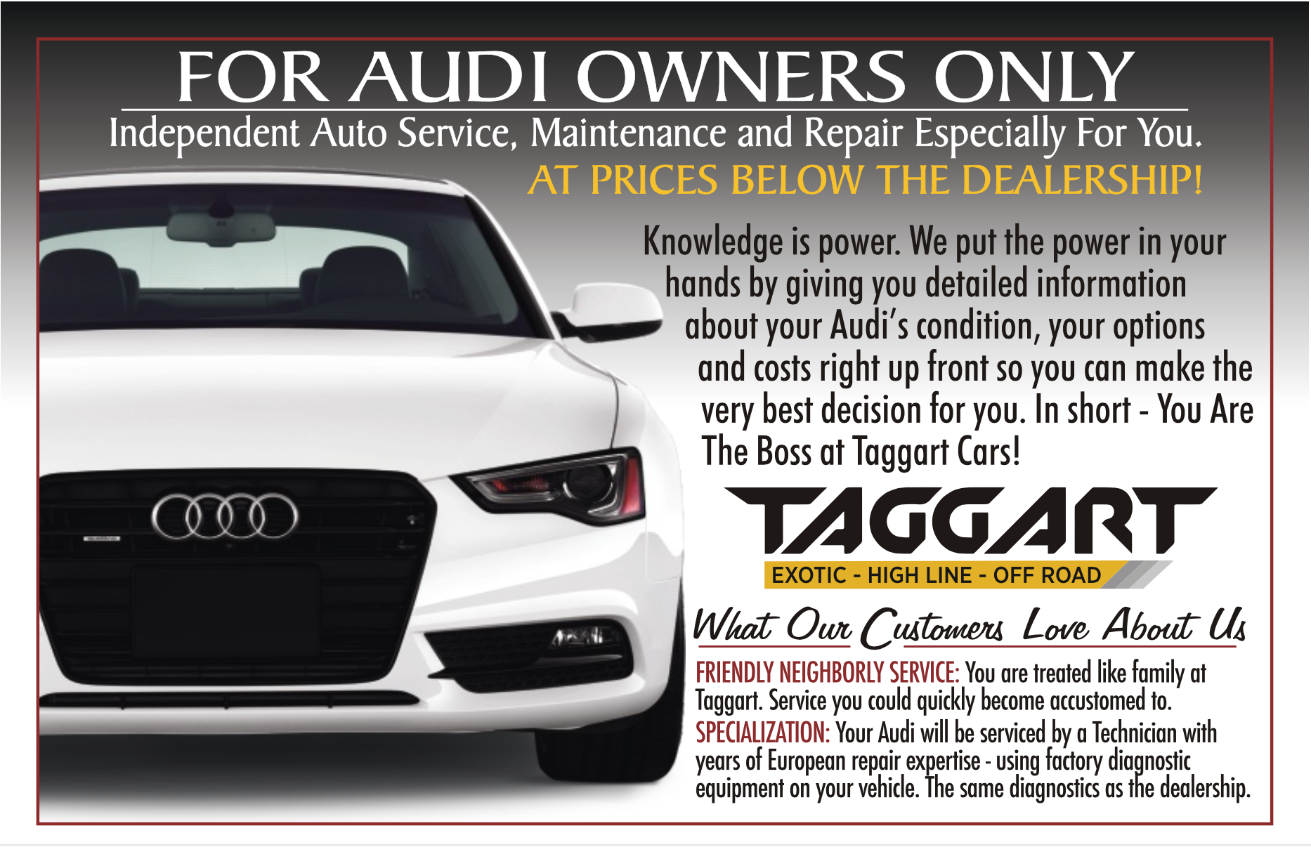 Audi Service Specialist In Cary NC Taggart Cars - What company makes audi cars