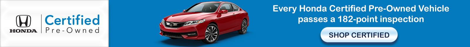 honda certified listing page banner